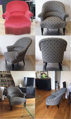 Transformation of an Art Deco fringed chair into an updated version with subtle charcoal dot Chaise Chair, Chair Upholstery, Upholstered Furniture, Green Furniture, Diy Furniture, Eclectic Design, Soft Furnishings, Chair Design, Ralph Lauren