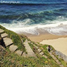 Winding stairs at the Moro beach in Asturias, #Spain. What's below? A secluded beach of fine sand and crystal clear waters :)