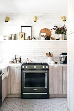 Love the fireclay tiles and semihandmade cabinet doors here! our kitchen reno: custom cabinet doors from semihandmade Kitchen Cabinet Hardware, Kitchen Cabinetry, Kitchen Tiles, Kitchen Reno, Kitchen Design, Kitchen Remodeling, Kitchen Floors, Oak Cabinets, Remodeling Ideas