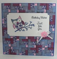 Owl Patchwork card - using a stamp