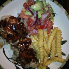 Dinner I made for the Food Lovers Fat Loss program I am trying out. Chicken thighs, baked French fries and tomato, onion, avocado salad. It was delicious!  Sauce on chicken was red wine and balsamic reduction.