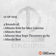 These are max effort intervals. Post total calories & total thrusters to comments. Scale as needed. #BrutallyElegant #CrossFitLinchpin #CrossFit