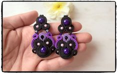 """Soutache earrings  """"Raven"""" with purple 😊  I love ❤ this model 😉"""