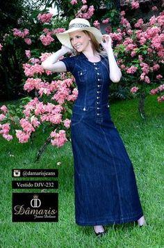 DJV-232 - Vestido Jeans Longo - Dâmaris Jeans Deluxe