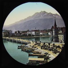 HAND COLOURED Glass Magic Lantern Slide LUCERNE AND PILATUS C1890 SWITZERLAND