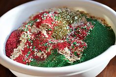 "Reindeer Food. Oatmeal, Christmas colored sugar, Christmas sprinkles & Glitter. Includes FREE Printable Reindeer Food Magical Reindeer Food Instructions: ""Sprinkle on the lawn at night, The moon will make it sparkle bright, As Santa's reindeer fly and roam, This will guide them to your home."""