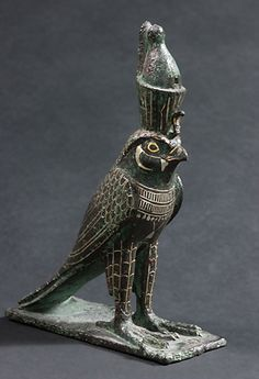 Horus falcon -  bronze inlaid with gold  404-30 BC. | Louvre Museum