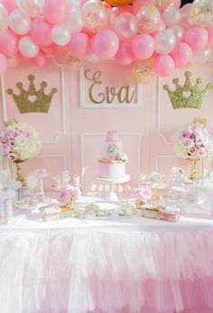Pink And Gold Princess Birthday Party Pretty My - Pink And Gold Princess Birthday Decorations Princess Birthday Party Decorations, Pink Princess Party, Princess First Birthday, Baby Shower Princess, Baby Girl Birthday, Daughter Birthday, First Birthday Parties, Birthday Party Themes, First Birthdays