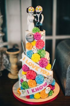 Day of the Dead Mexican Wedding Cake | Colourful Mexican Themed Wedding Ideas | Blog post from Vintage Partyware | Wedding hire and styling in Norfolk, Cambs and Lincs | http://www.vintagepartyware.co.uk/blog/mexicanwedding