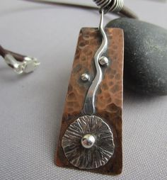 Copper Necklace/ Leather necklace with copper Pendant/ by mese9