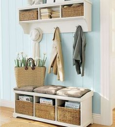 Small/Tiny home entries are sooooo important.  Without the usual space, you track in a lot of messes so think about how to keep it clean and organized.