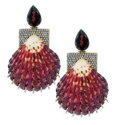 Silvia Furmanovich gold, diamond, grenade and shell earrings.