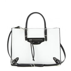 Balenciaga Mini Papier A4 Zip Around Leather Shoulder Bag ($1,275) ❤ liked on Polyvore featuring bags, handbags, shoulder bags, purses, white, leather purse, white leather shoulder bag, genuine leather shoulder bag, white purse and mini leather handbags