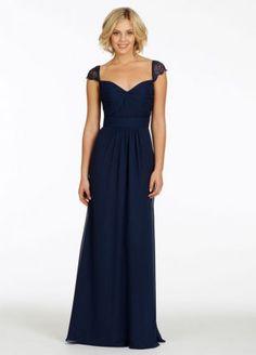 Indigo chiffon A-line bridesmaid dress with navy lace cap sleeve