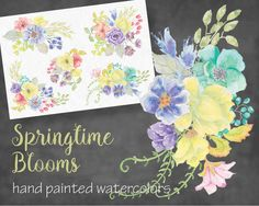 Watercolor sprays of mixed yellow Graphics DESCRIPTIONA rainbow mix of bright and colorful flowers have been included in the design of these by Lolly's Lane Shoppe Colorful Flowers, Spring Flowers, Watercolour Painting, Watercolors, Botanical Illustration, Spring Time, Design Bundles, Sprays, Bloom