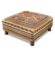 Hand woven from Indian kilim, this whimsical large cocktail ottoman is scaled at a generous square. Rustic and charming, this ottoman is perfect for any rustic, or southwestern home. Kilim Ottoman, Ottoman Table, Upholstered Ottoman, Ottoman Storage, Poltrona Bergere, Southwestern Home Decor, Southwestern Style, Oversized Ottoman, Handmade Ottomans
