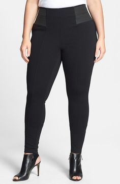Sejour Stretch Ponte Pants (Plus Size) at Nordstrom.com. A bit more polished than the usual leggings, ponte-knit pants with curve-hugging stretch are detailed with topstitched seams down the front and back legs. Elastic insets at the sides enhance the comfort. a great legging for Tina L.    For plus size women's personal styling visit http://www.plvshstyle.com/
