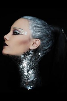 Silver sequin makeup