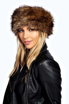 Carla Longpile Faux Fur Headband Boohoo Brown Leather Biker Jacket Winter Fashion Style Trend