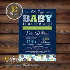 Printable Baby Boy Shower Invitation - Chevron, Floral, Polka Dot - Navy, Lime Green, Aqua Boys Shower Invitation