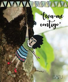 """""""Leva-me contigo"""" necklace  illustration, wood jewels, handpainted accessories, made with love, arts and crafts, gifts"""