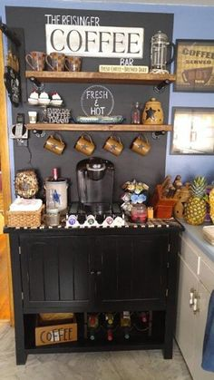 Coffee Bar Ideas - Looking for some coffee bar ideas? Here you'll find home coffee bar, DIY coffee bar, and kitchen coffee station. Coffee Nook, Coffee Bar Home, Home Coffee Stations, Coffee Bars, Hot Coffee, Ninja Coffee, Iced Coffee, Coffee Meme, Coffee Scrub
