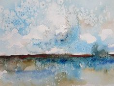 Items similar to Abstract Watercolor Landscape -Crystal Bay in Mat 11 x 14 on Etsy Watercolor Landscape, Abstract Watercolor, Watercolor And Ink, Watercolor Paintings, Diy Wall Painting, Painting & Drawing, Diy Wand, Hanging Pictures, Watercolor Techniques
