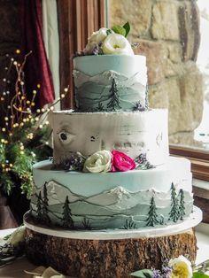 Hochzeitstorten deko Mountain themed wedding cake from a wedding at Twin Owls Steak House in Estes Park Themed Wedding Cakes, Wedding Desserts, Themed Cakes, Cake Wedding, Wedding Shower Cakes, Creative Wedding Cakes, Wedding Cake Designs, Wedding Vows, Pretty Cakes