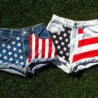 Custom Made to Order: American Flag Denim Shorts