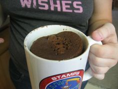 chocolate mug cake. Haven't had a desert in 4 months and was dying. Just made this tonight and it was amazing! I used 5 tbsp of milk and 2 tbsp of olive oil and the large dark chocolate chips. only microwaved 2 minutes. Yum!!!