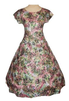 Vintage 50's Polished Cotton Graphic FLORAL Print Housewife Cocktail Day Dress #CountryClubFrocks