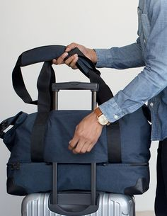 A duffel travel bag that's large enough to fit up to a weeks worth of clothes. Despite it's spacious capacity, it's small enough to qualify as a carry-on.