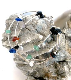 Repurposed Gemstone Bracelet - Three Strands Multi Colour Beads by ReTainReUse on Etsy