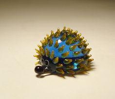 Blown Glass Murano Small Blue Hedgehog Garden Figurines, Glass Figurines, Glass Animals, Cute Little Animals, Light Installation, Solar Lights, Stained Glass Windows, Murano Glass, Glass Ornaments