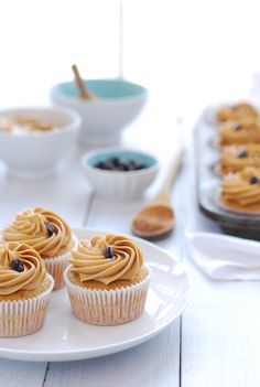 Cardamom Cupcakes, use basic coffee butter frosting from all recipes. com