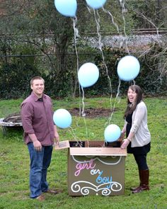 Gender Reveal...tape balloon string at different heights(helpful if you don't snap that picture and the right time and want to take another)