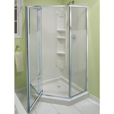 Bathroom , Great Corner Shower Stalls for Small Bathroom Ideas : Amazing Green Bathroom With Corner Shower Enclosure Corner Shower Units, Corner Shower Stalls, Small Shower Stalls, Shower Stall Kits, Shower Enclosure, Corner Showers, Master Bathroom Shower, Small Bathroom With Shower, Small Showers
