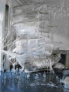 . . . sculpted ice boat photographed by Tim Walker for Vogue US  #Art_installation #Photography #Fashion