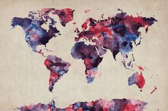 Watercolor World Map Purple - Wall Mural & Photo Wallpaper - Photowall Watercolor World Map, Watercolor Postcard, World Map Art, Map Canvas, Vintage Poster, Photo Wallpaper, Artist Canvas, Digital Art, Art Prints