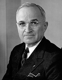 Harry S. Truman was the 33rd. President and was in office April 12,1945-January 20, 1953