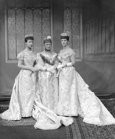 Queen Alexandra, Queen Louise of Denmark, HRH Princess Royal, Duchess of Fife Date: 6th July 1893. Occasion: The Wedding of King George V and Queen Mary, 6th July 1893. Costume: Court Dress.