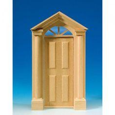Eingangstür aus Naturholz mit Säulen (60050). Rahmen mit zwei dekorativen Säulen und Oberlicht in Acrylglas. Komplett mit Innenverkleidung. Abmessungen: 130 x 216 mm (BxH). Ausschnittmaße: 77 x 191 mm.