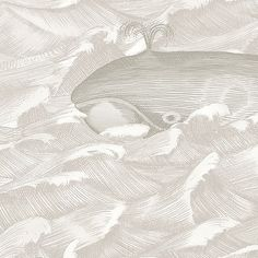 Melville Wallpaper A finely engraved turtle riding whales that are gliding to and fro on an ocean of gentle waves, in greys