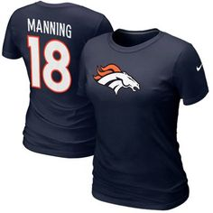 Nike Peyton Manning Denver Broncos #18 Womens Name & Number T-Shirt - Navy Blue