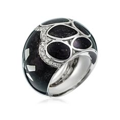 Stefan Hafner Mosaic 18K White Gold Ring With Black Enamel & Diamonds (=)