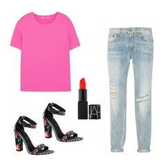 How To Style Auden Top in Signal Pink, J Brand, $195 Wear with distressed jeans, bold sandals and a scorching, mattelip. Cadaudda Sandal, Aldo, $80 Lipstick in Matte Orange Red, NARS, $26 Relaxed Skinny Distressed Jeans, R13, $130
