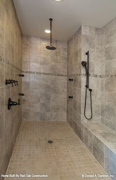 Master Bathroom-lg walk-in shower with bench & multiple heads