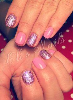 Short Nails, purple, glitter, holographic glitter, sweet nails, gellack