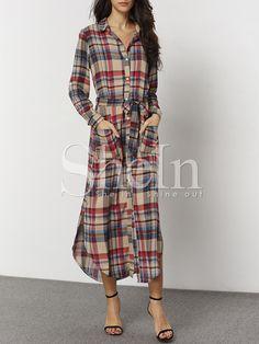 Длинное платье-рубашка в клетку с поясом