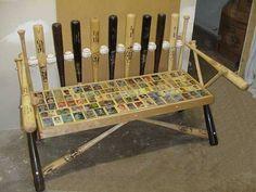 Baseball Bat Bench With Decoupaged Baseball Cards